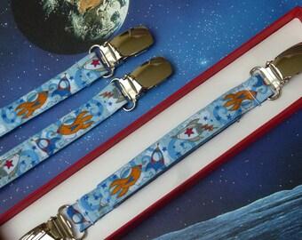 "Tie clip blanket - Original towel ""Cosmos"" background sky and orange woven Ribbon"