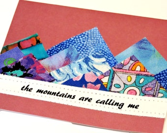 Blue Mountains Card, Original Textile Fiber Art Greeting, The Mountains are Calling Me Notecard, Vacation Getaway Notes itsyourcountry
