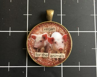 Vegan for the Animals, darling pig pendant, 50% goes to the current focus charity