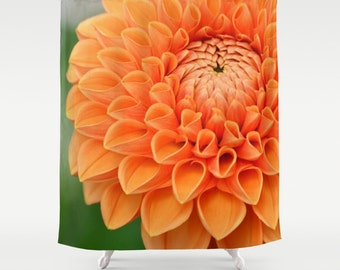 Fabric Shower Curtain  - Bloom - Original Photograpy by RDelean Designs, orange, flower, bloom, nature