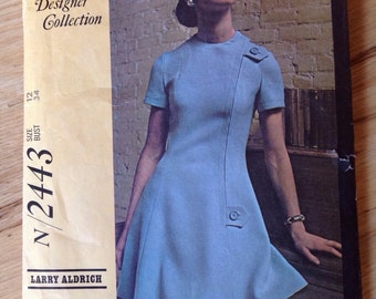 Vintage McCall's 2443 New York Designers Collection Larry Aldrich Sewing Pattern Mod Misses' Dress, size 12