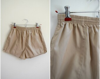 Vintage camp shorts / 70's retro elastic waist varsity shorts
