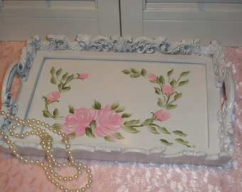 Handpainted H P Pink Roses Antique White Vanity Tray