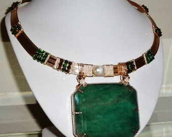 RARE 452 ct Natural Earth Mined Emerald cut Emerald, 14kt yellow gold Necklace 21 1/2""
