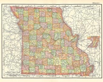 map of Missouri, a vintage printable digital download, collage sheet no. 267