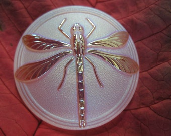 Dragonfly iridescent on frosted Czech Glass Button 41mm