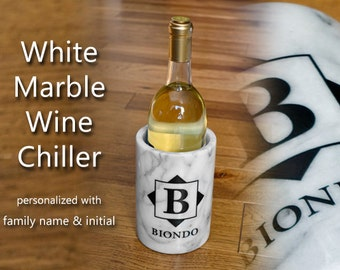 Personalized White Marble Wine Chiller Family Name Initial