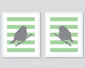 Perched Birds Art Prints - Modern Birds Art - Set of 2 -  Master Bedroom Wall Art - Grey and Green