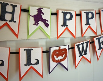 Happy Halloween Banner - Halloween Decor - Halloween Photo Prop - Glitter Halloween Banner - Halloween Garland