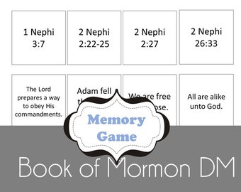 Doctrinal Mastery Book of Mormon Memory Game Cards - 25 Scriptures - 50 Cards Total - LDS Seminary