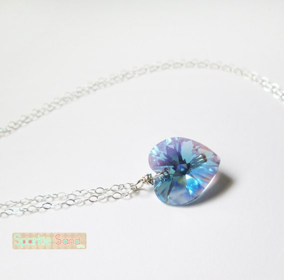 Aquamarine swarovski necklace blue heart pendant sterling aloadofball Image collections