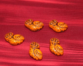 Merry owl, light orange shiny / old patina 17mm (6pcs)