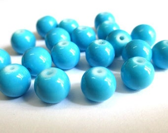 10 blue glass beads painted 8mm (R-48)