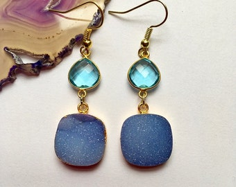 Blue topaz gemstone dangles,large square druzy earrings,periwinkle earrings,gold bezel dangles,druzy crystal drop earrings,gemstones,boho