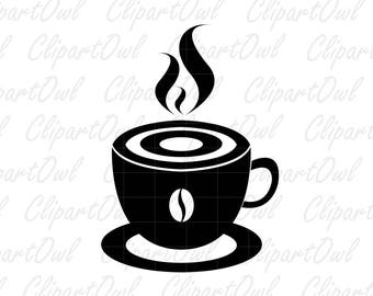 Coffee Cup Mug Silhouette Clipart - coffee break, coffee icon - vector, digital stamp - Png, Jpg, Eps, Ai - Free Commercial use.