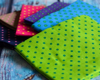 Fat Quarters, Fat Quarter Bundle, Fabric Bundle, Polka Dots, Cotton,  Patchwork, Quilting, Sewing, Ditsy Dot, Green, Pink, Home decor,