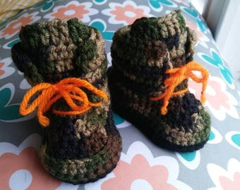 Army Baby Booties, Camo, 0-3 mos