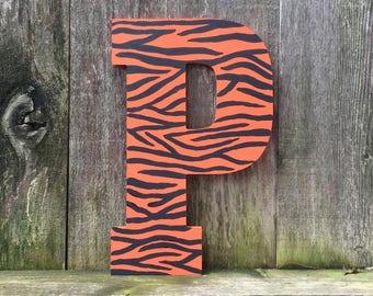 Tiger print letters, nursery decor, animal print, tiger gifts, tiger painting, safari print, tiger print art, wall art, decorative letters