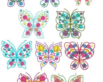 Colorful Butterflies - INSTANT DOWNLOAD - Machine Embroidery - 4x4 hoop