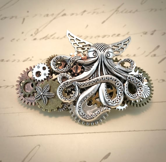 Steampunk Cuddly Cthulhu and Gears Barrette