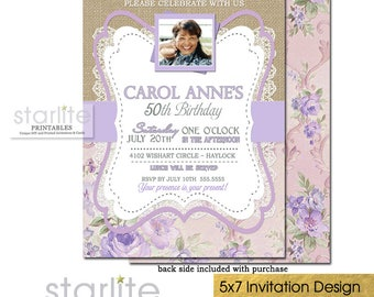 50th Birthday Invitation with Photo, Floral 50th Birthday Invitation Picture for Women, Lavender 50th Birthday Invite Printable, ANY AGE