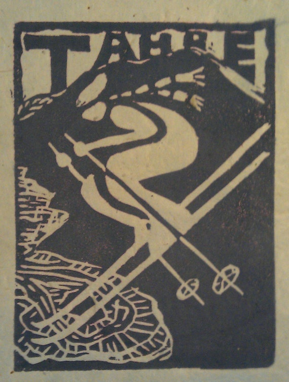 "Tahoe Downhill skier 4"" x 5"" linocut print in lavendar on Natural buff paper"