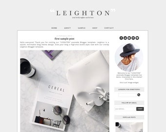 Blogger Template Premade Blog Theme Design Leighton - Instant Digital Download, Gray and White