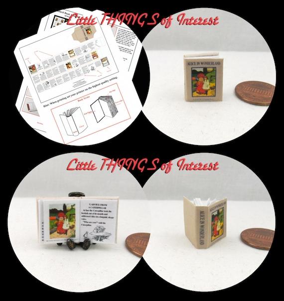 Kit ALICE IN WONDERLAND Book Kit 1:12 Miniature Dollhouse Scale Miniature Kit Miniature Book Red Queen Rabbit
