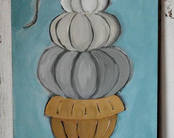 Whispers of Autumn No.2 - white, gray, pumpkins, fall, autumn, original painting, contemporary, acrylic painting
