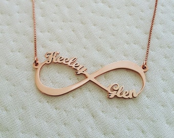 Rose Gold Infinity Necklace With Names Rose Gold Infinity Name Necklace Two Names Infinity Necklace Rose Gold Necklace Infinity