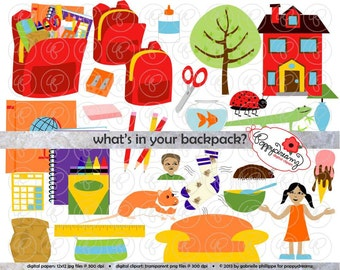 What's In Your Backpack School Supply Clipart: (300 dpi transparent png) School Teacher Clip Art Creative Writing Games Readers