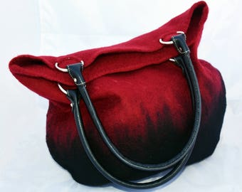 Red and Black Felted Handbag
