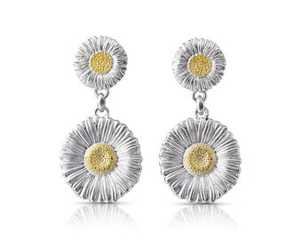 Buccellati - Blossoms Daisy Drop Earrings, Sterling Silver, Gold Accents