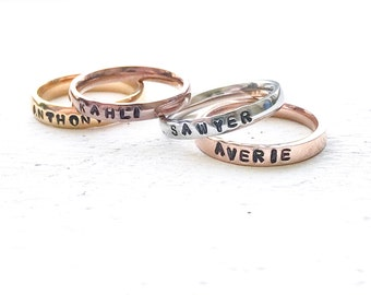 Tri color rings for mom, personalized stack rings for mothers, Stacked name rings for women, Stackable rings mixed metal rings custom