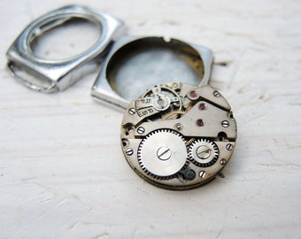Rare Brass Watch Movement with case - c109