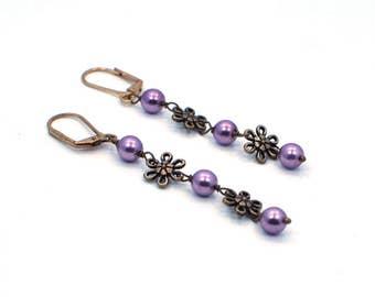 Pearl Earrings, Gift for Her, Purple Earrings, Long Purple Earrings, Drop Earrings, Floral Earrings, Lightweight Earrings, Gift for Women