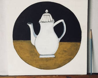 Naive painting figurative - very decorative white teapot