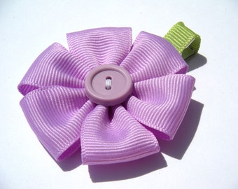 Flower Hair Bow - No Slip Clip - Purple