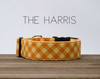 "Modern Orange Bias Plaid Checked Dog Collar ""The Harris"""