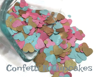 Satin Heart confetti, pink teal and gold confetti, wedding invitation confetti, card confetti, baby shower decor, mini dot confetti, party