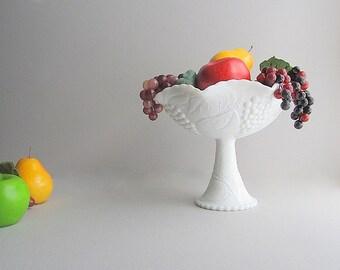 Vintage Large Milk Glass Bowl, Large Pedestal Bowl, Fruit Bowl, Wedding Centerpiece, Table Centerpiece