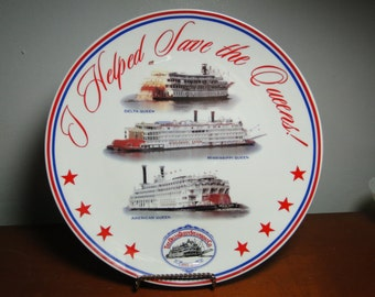 "Ship Collector Plate - The Delta Queen Steamship Co Collector Plate - 10"" Diameter - Delta Queen - Mississippi Queen - American Queen"