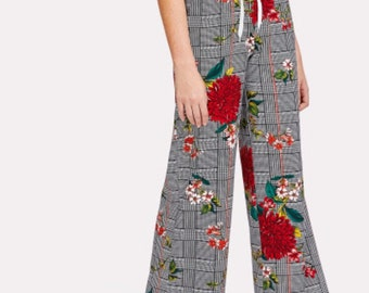 Plaid and floral  trousers