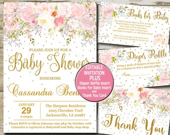 Baby shower invitation etsy baby shower invitation girl blush pink gold glitter invite kit baby girl shower floral invitations pink flowers editable invitation p55 filmwisefo