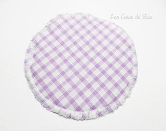 Case mirror • Katie's • fabric double sided, gingham and dots • practical accessory
