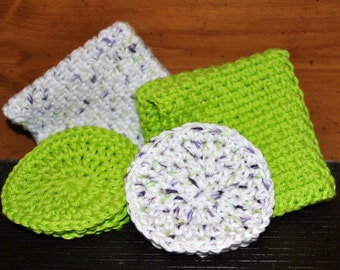 Crochet Cotton Washcloth and Face Scrubby Set
