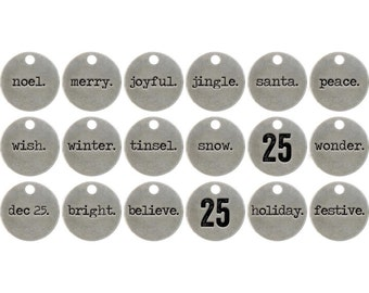 Word Charms Word Pendants Quote Charms Christmas Charms Christmas Words Charms Silver Word Charms Assorted Charms 18 pieces