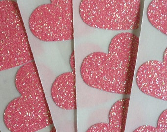 12 Glitter Heart Stickers - Pink