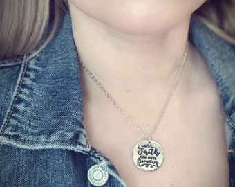 Faith Jewelry- Faith Can Move Mountains* Silver*Necklace Pendant- Christian Gift