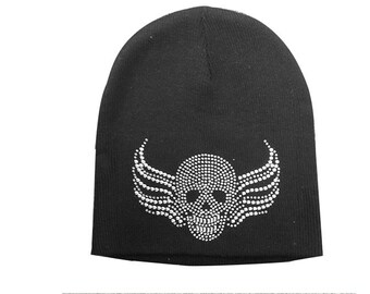 Black Skull Beanie with Rhinestones